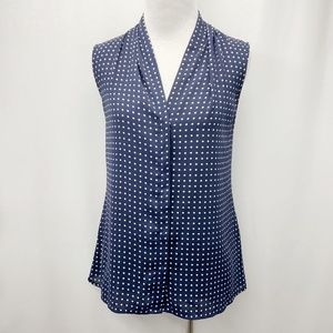 Banana Republic Navy Polka Dot, Button Up Tank Top